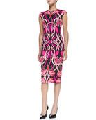 Safiya Cap-Sleeve Printed Midi Sheath Dress