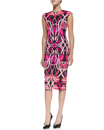 Safiya Cap-Sleeve Printed Midi Sheath Dress