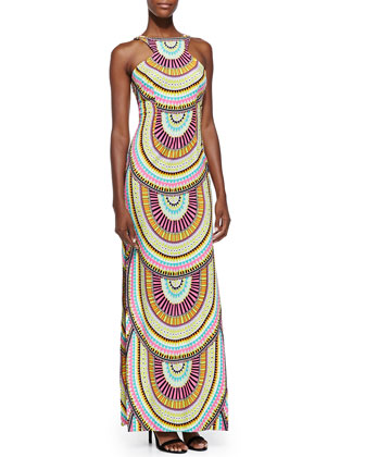High-Neck Printed Maxi Dress