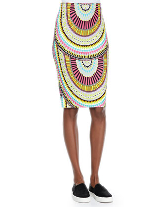 High-Waist Geometric-Print Pencil Skirt