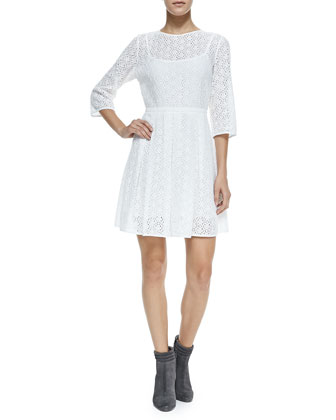 3/4-Sleeve Eyelet Lace Dress