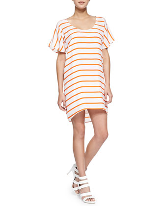 Audrina Short-Sleeve Striped Relaxed Dress