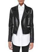 Cropped Leather Zip Moto Jacket, Black/White
