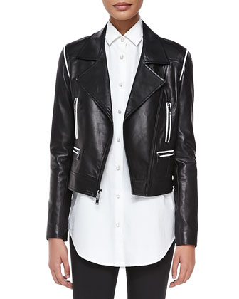 Cropped Leather Zip Moto Jacket, Black/White