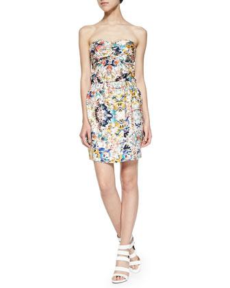 Elli Printed Strapless Dress W/ Tulip Hem