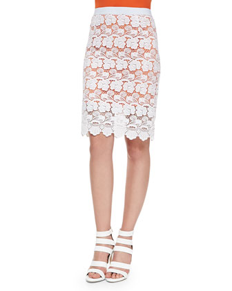 Angelica Floral Lace Pencil Skirt