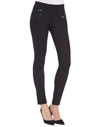 Pull-On Leggings with Double Zips