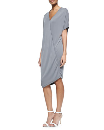 Asymmetric Short-Sleeve Jersey Dress