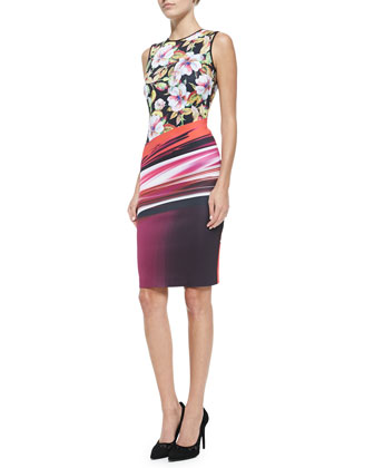 Sleeveless Botanical Wave-Print Dress