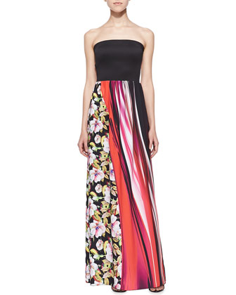 Strapless Botanical & Wave-Print Maxi Dress