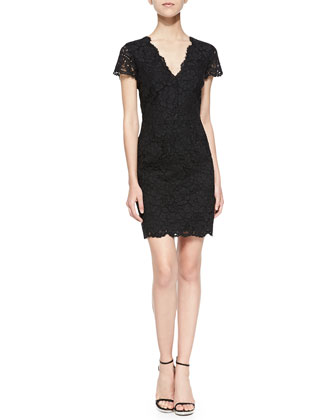 Short-Sleeve V-Neck Lace Sheath Dress