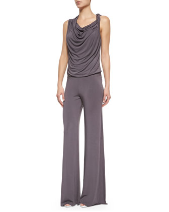 Ridley Sleeveless Cowl-Front Jumpsuit