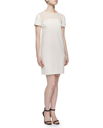 Short-Sleeve Scallop-Trim Shift Dress