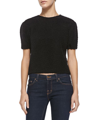 Lidy Cocoon Cropped Top, Black