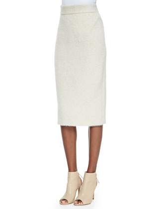 Alpaca-Blend Knee-Length Pencil Skirt, Ivory