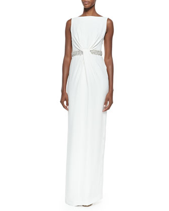 Camille Twist Beaded-Waist Gown