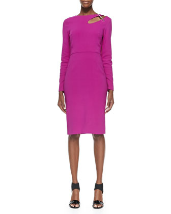 Salvador Contour Cutout Pin Dress, Magenta