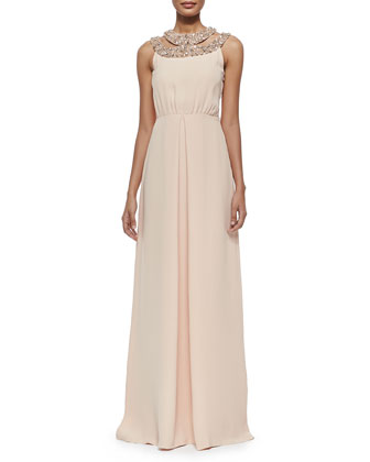 Niki Beaded Silk Halter Gown