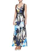 Palm-Print Satin Maxi Dress