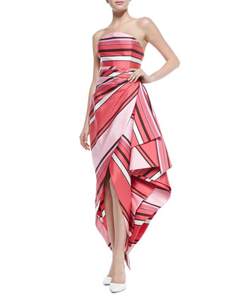 Strapless Striped Origami Wrap Gown
