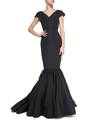 Cap-Sleeve Silk Faille Trumpet Gown