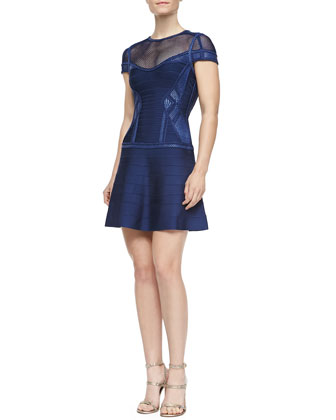 Odiele Puffa-Crochet Flared Dress, Classic Blue