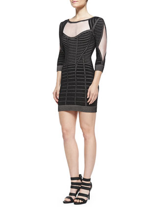 Germain Cage Plated Dress, Metallic Black