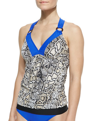 Snake-Print Tankini Top & Assorted Swim Bottoms