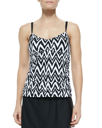 Printed Strappy-Back Tankini Top, A-Line Swim Skirt & Retro Swim Bottom