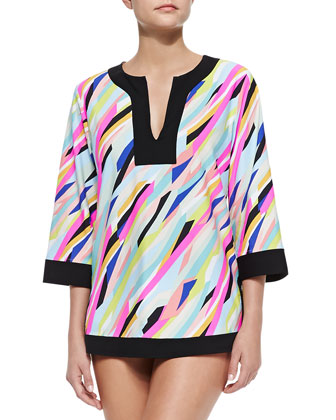 Printed Solid-Trim Jersey Tunic Coverup