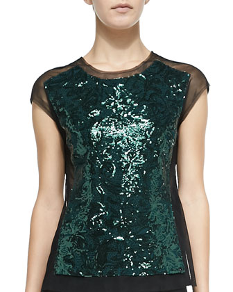 Obree Sequined-Front Mesh Top
