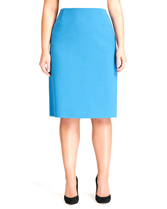 Revelin Crepe Pencil Skirt, Pacific, Women's
