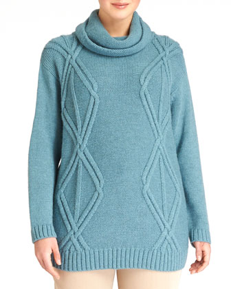 Cowl-Neck Diamond Cable-Knit Sweater, Women's