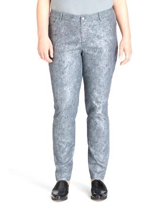 Etched Printed Curvy Slim-Leg Jeans, Rain, Women's