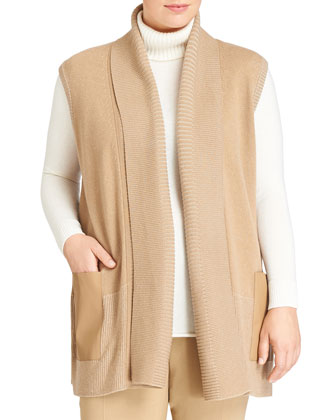 Pleated Wool Vest w/Bonded Pockets, Camel, Women's