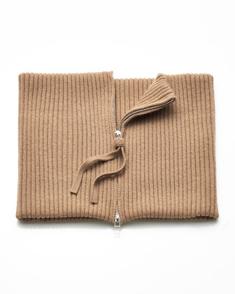 Ribbed Cashmere Zip Collar