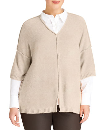 Relaxed V-Neck Sweater, Women's, Melba Melange