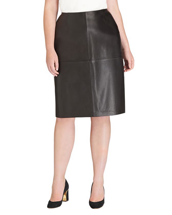 Modern Four-Panel Leather Pencil Skirt, Black, Women's