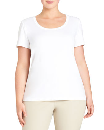 Scoop-Neck Short-Sleeve Cotton Tee, White, Women's