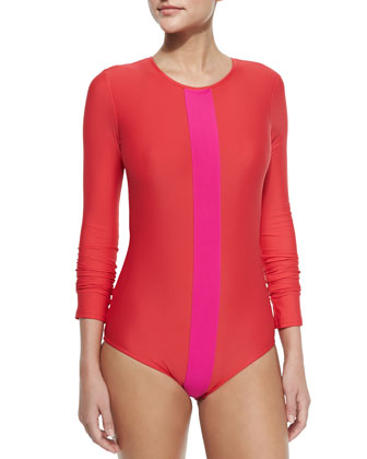 Long-Sleeve One-Piece Swimsuit, Red/Fuchsia