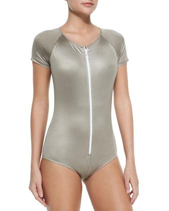 Short-Sleeve Zip Swimsuit, Metallic