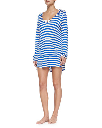 Striped Hooded Long-Sleeve Coverup, Blue