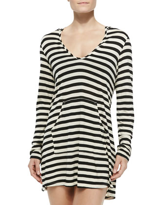 Striped Hooded Long-Sleeve Coverup, Black