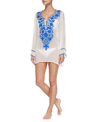 Long-Sleeve Tunic W/ Embroidered Front, Blue