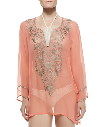 Long-Sleeve Tunic W/ Embroidered Front, Orange