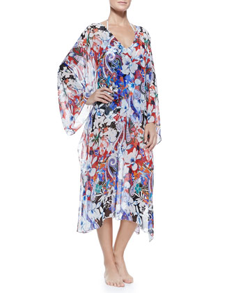 Hawaiian Floral-Print Caftan with Tie