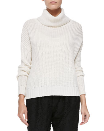 Diona Chunky Knit Turtleneck Sweater & Lacinda Pleated Lace Pants