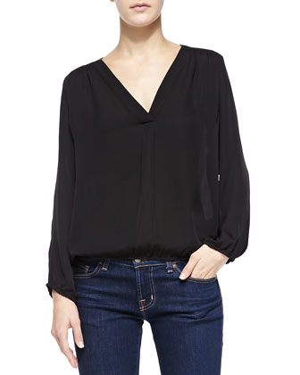 Madrina V-Neck Blouse W/ Bishop Sleeves