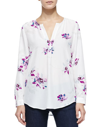 Deon B Long-Sleeve Silk Floral Blouse