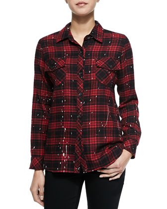 Paint-Drip-Print Plaid Blouse
